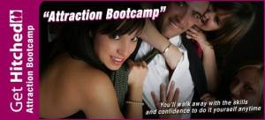 Get Hitched attraction bootcamp for men. Contact SHI Symbol
