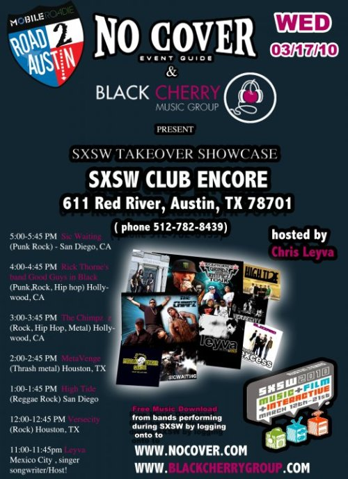 No Cover Black Cherry SXSW Club Encore event 17th March 2010