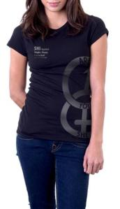 SHI Symbol Women's Black/Metallic Silver T Shirt, front view