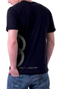 SHI Symbol Men's Black/Metallic Silver T Shirt, Back view