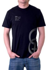 SHI Symbol Men's Black/Metallic Silver T Shirt, front view