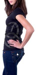 SHI Symbol women's black/metallic silver T Shirt side view