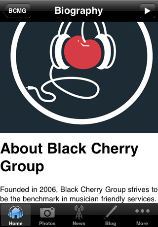 Black Cherry Music Group IPhone App screen shot - blog provided by SHI SYmbol International